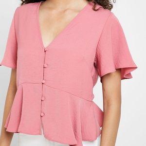 Topshop button down peplum ruffle rose pink blouse